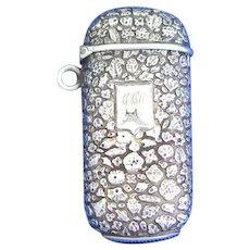 Cast floral design French match safe, sterling, unidentified maker's mark, c. 1890