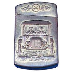 Automobile motif match safe with stamp holder or ticket holder, brass, by Kronheimer & Oldenbusch Company, c. 1900