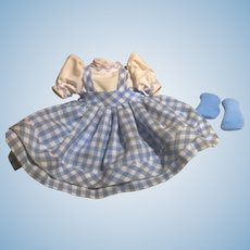 """Authentic Madame Alexander Dress and Socks for Wizard of Oz  """"Dorothy"""""""