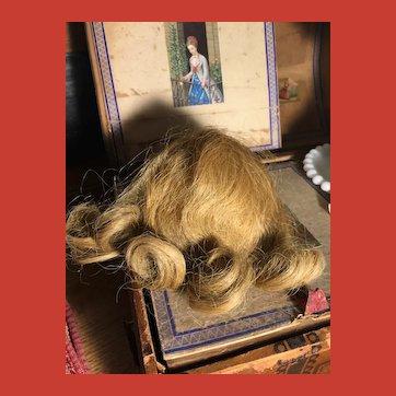 Elegant Human Hair Dirty Blonde Doll Wig ~Mint