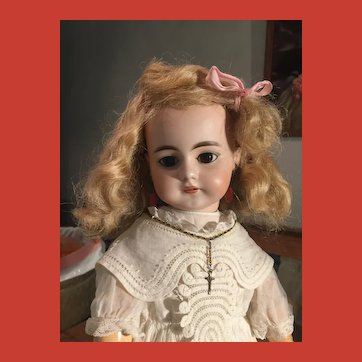 Angelic ~ Vintage Pale Warm Blonde Mohair Doll Wig