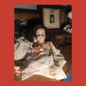 Large Antique Armand Marseille Shoulder-head Doll ~As Found.. Hot Mess!