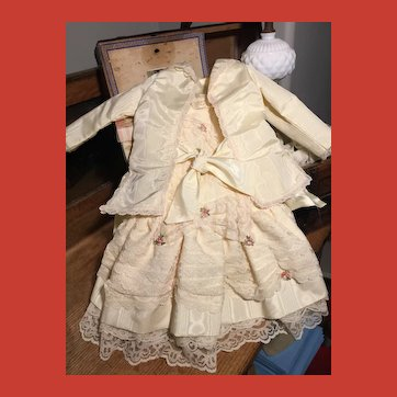 Fancy Cream & Pink  5 Piece Vintage Dress Ensemble~delicious