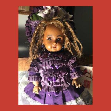 "Rare Antique HTF Black Jumeau Bebe Doll 1907 w/ gorgeous wardrobe~cabinet size 15"""