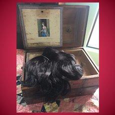 HTF Larger Size Human Hair Jet Black Doll Wig,  Gorgeous on Ethnic Dolls!