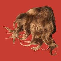 Antique Mohair Light Warm Brown Doll Wig w/original Pate~ Luscious