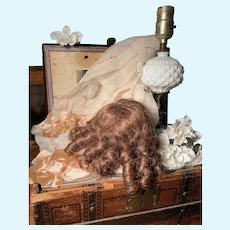 Elegant Vintage Human Hair Doll Wig ~True Auburn Color
