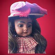 "18"" Simon & Halbig Brown Complexion Character Doll 739 w/ Antique Wardrobe and Early Straight Wrist."