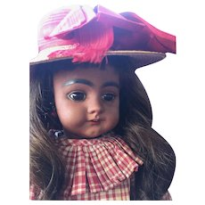 """18"""" Simon & Halbig Brown Complexion Character Doll 739 w/ Antique Wardrobe and Early Straight Wrist."""