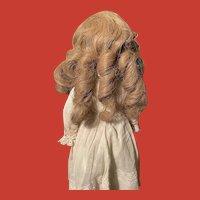 Vintage Flaxen Blonde Long Human Hair Wig~Superb