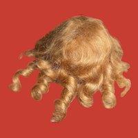 Superb Vintage Golden Blonde Mohair Wig w/ Ringlet Curls for Small/Medium Doll