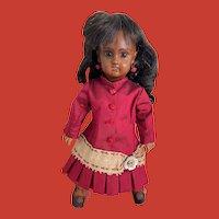 "10"" Tete Jumeau Bebe ~ Rare Early Black Bisque Head Doll Size 2"