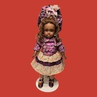 Artisan Made Vibrant Purple And Cream Doll Dress~Superb