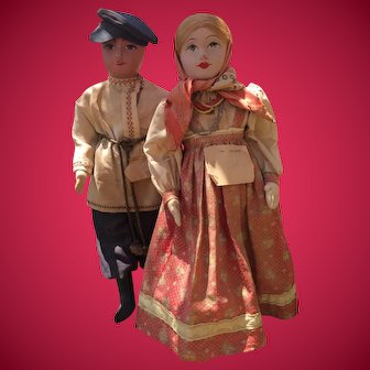 Rare Artistic Russian Dolls - Peasant Couple With Very Detailed Clothing.