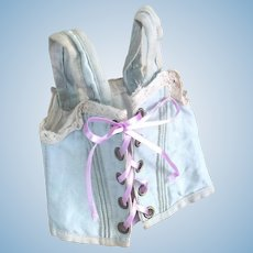 Antique Original French Factory Pale Blue Corset for bebe doll