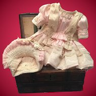 Beautiful Soft Pink And Cream Doll Dress And Bonnet for Antique Doll