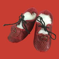 Vintage Red Leather Faux Snake Skin Doll Shoes!