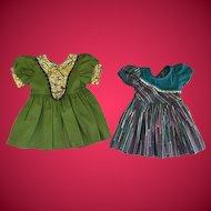 2 Vintage 1950's Hard Plastic Doll Dresses