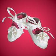 Lovely White Leather Artist Made Doll Shoes for Bisque or Composition Doll