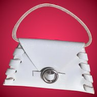 Small Leather Doll Purse w/ Faux Silver Buckle