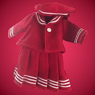 True Red Wool Sailor Dress Outfit for Small Doll