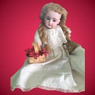 Vintage Reed Doll Basket w/ Red Poinsettia Flowers
