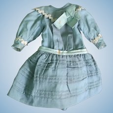 1890's Authentic Fine French Cotton Dress for Bebe Doll~ Gorgeous Robin Egg Blue Color