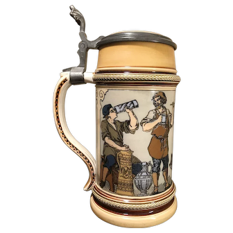 Mettlach Beer Stein # 1164 - Musician and girl