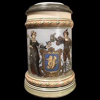 Mettlach Beer Stein # 1725 - Lovers, man holding stein, signed Warth (1 of 2)
