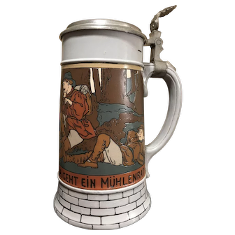 Mettlach Beer Stein # 2833B - Hunters in Forest, signed MC