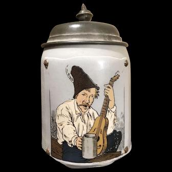 Mettlach Beer Stein # 1645 - Man with guitar and stein (*damaged*)