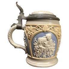 Mettlach Beer Stein # 1266 - Three panels, drinking scenes