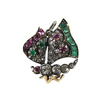 Victorian Novelty Jeweled Butterfly Pendant