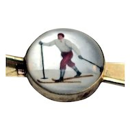 Exceptional Reverse Painted Crystal of a Skier--Essex Crystal- Rare--