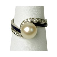 Deco White Gold Ring With Pearl, Enamel and Diamonds