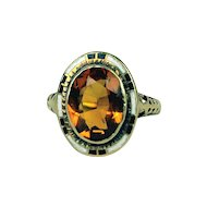 Art Deco Citrine with Enamel 14K Ring