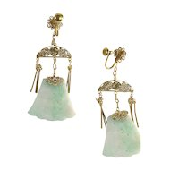 Distinctive Silver Gilt & Jade Earrings
