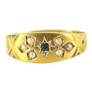 Victorian English 15K Gold Ring With Pearls & a Sapphire