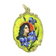 Unique Art Nouveau Silver Enamel Sliding Pendant with Mirror