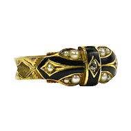 Victorian 15K Yellow Gold Memorial Ring - Chester Hallmark