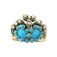 Lovely English Pearl & Turquoise Ring