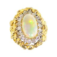 Dynamite Deco Opal & diamond Ring in 14K Gold