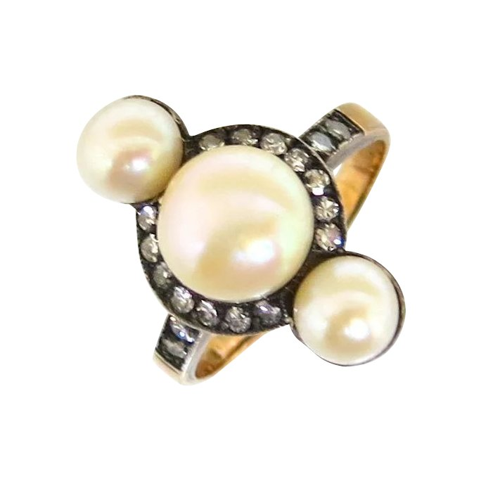 Diamond Rings For Sale Denver: French Art Nouveau Pearl & Diamond Ring : The Pearl