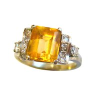 Splendid Art Deco Precious Topaz & Diamond Ring