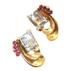 Striking 1940s Aquamarine & Ruby Earrings in 14K Gold