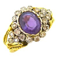 Edwardian 18K Amethyst & Diamond Ring