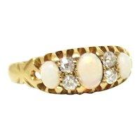Delicate Opal & Diamond Edwardian Ring in 18K Gold