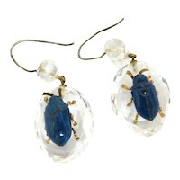 "Dynamic Victorian Rock Crystal & Lapis ""Bug"" Earrings"