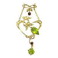 Art Nouveau Pendant Featuring Peridots, Pearls & Rubies