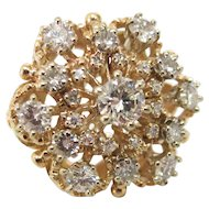 Vintage 2.50 Carat Diamond Cluster Ring in 14K Yellow Gold